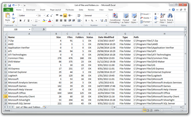 Export Explorer file lists to Excel or csv